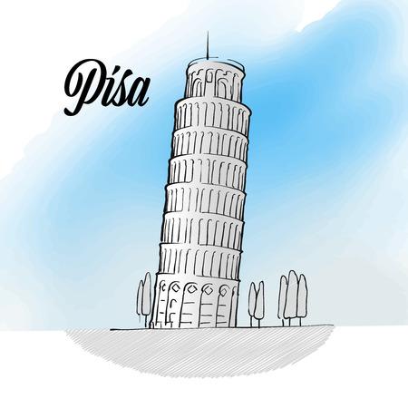 Pisa Tower landmark sketch, hand drawn outline illustration for print design and travel marketing.