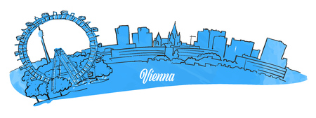 Vienna sitiyscape panorama, hand drawn outline sketch for greeting card prints and travel marketing.
