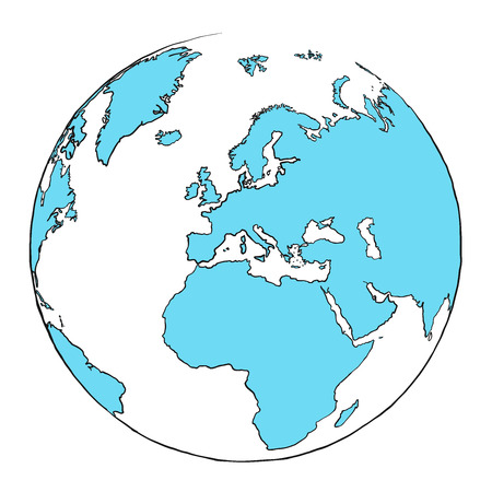 Outline globe focused on Europe, hand drawn outline illustration for print design and travel marketing. Illustration