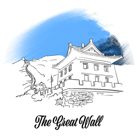 Great wall banner sketch. Hand drawn outline illustration for print design and travel marketing.