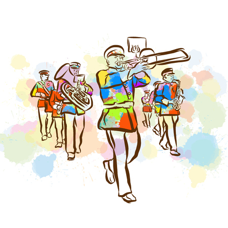 Colorful marching band sketch. Hand drawn vector illustration, splatter color. Isolated on white background. Creative communication concept.
