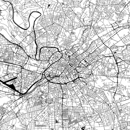 Birmingham Downtown Vector Map Monochrome Artprint Outline Version