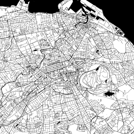 Edinburgh Downtown Vector Map Monochrome Artprint, Outline Version for Infographic Background, Black Streets and Waterways
