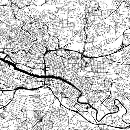 Glasgow Downtown Vector Map Monochrome Artprint, Outline Version for Infographic Background, Black Streets and Waterways Illustration