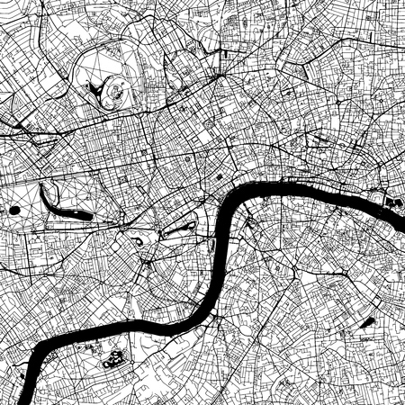 London Downtown Vector Map Monochrome Artprint, wersja konspektu na tle infografiki, czarne ulice i drogi wodne