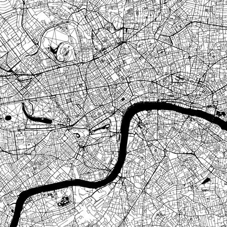 London Downtown Vector Map Monocromo Artprint, versión de esquema para el fondo de infografía, calles negras y vías fluviales