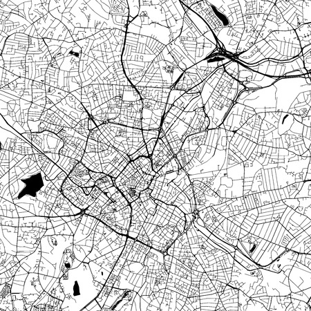 Birmingham Downtown Vector Map Monochrome Artprint, Outline Version for Infographic Background, Black Streets and Waterways Illustration
