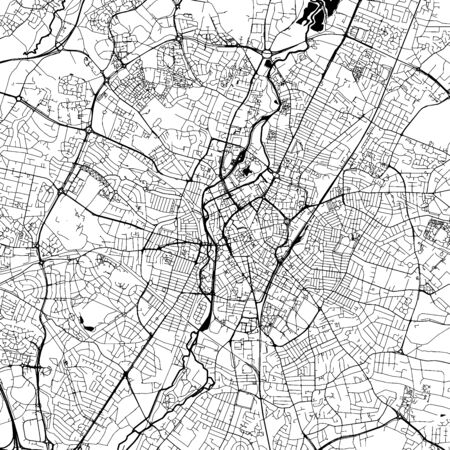 Leicester Downtown Vector Map Monochrome Artprint, Outline Version for Infographic Background, Black Streets and Waterways Illustration