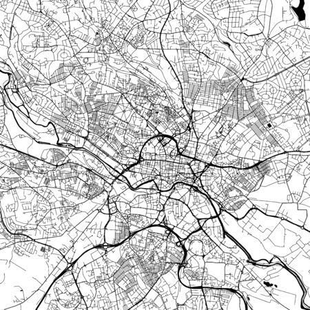 Leeds Downtown Vector Map Monochrome Artprint, Outline Version for Infographic Background, Black Streets and Waterways
