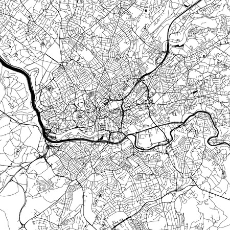 Bristol Downtown Vector Map Monochrome Artprint, Outline Version for Infographic Background, Black Streets and Waterways