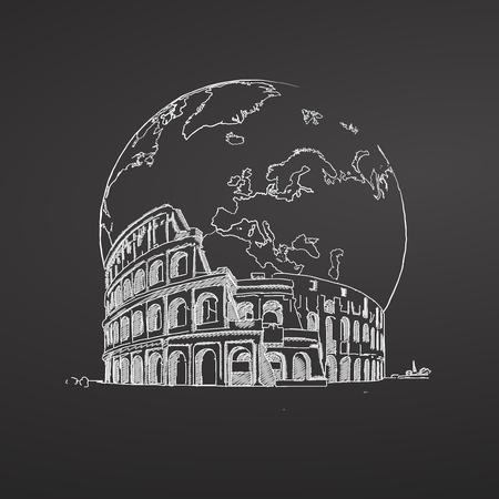 Coliseum and Earth Sketch on Chalkboard. Tourism sketch concept with landmarks. Ilustração