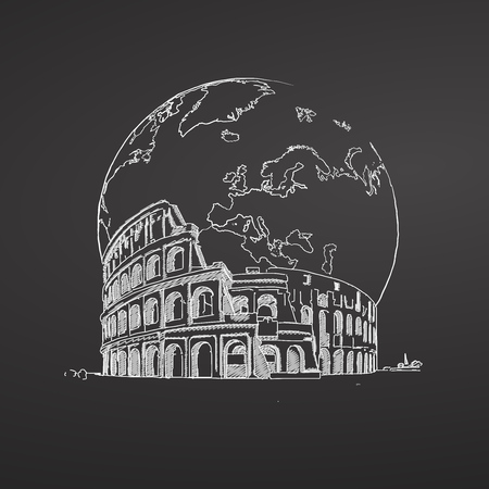 Coliseum and Earth Sketch on Chalkboard. Tourism sketch concept with landmarks. Illustration