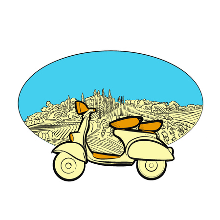 Vineyard travel icon with scooter. Hand-drawn sketches in beautiful outlines and colors.