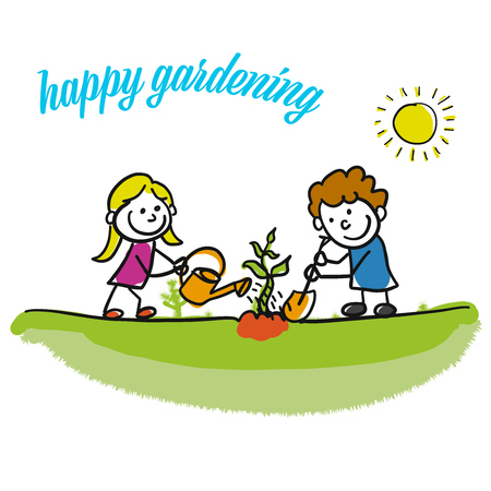 Happy gardening stickman kids. Hand-drawn sketches doodles in beautiful outfits and costumes. Modern vector illustration isolated in cartoon style.