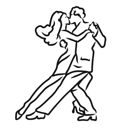 Tango Argentino dancer sketch, hand-drawn vector drawing. Use for dance studio marketing icon or invitation.
