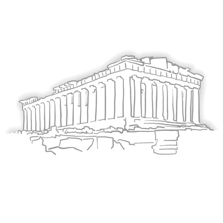 Greece Acropolis Temple Sketch. Line Art drawing by hand. Travel design, architecture icon for greeting card, vector background. Illustration