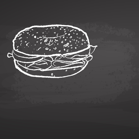 Bagel Poster Chalkboard Sketch. Concept Vector Artwork with copy Space. Ideal for Food Price Labeling and Poster Layouts. Foto de archivo - 96071987