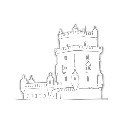 Lisbon Portugal Belem Tower Sketch. Line Art drawing by hand. Travel design, architecture icon for greeting card, vector background.