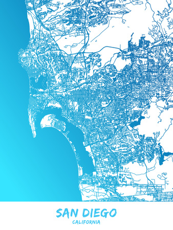San Diego downtown and surroundings Map in blue shaded version with many details. This map of San Diego contains typical landmarks with room for additional information and easy access to color changes.