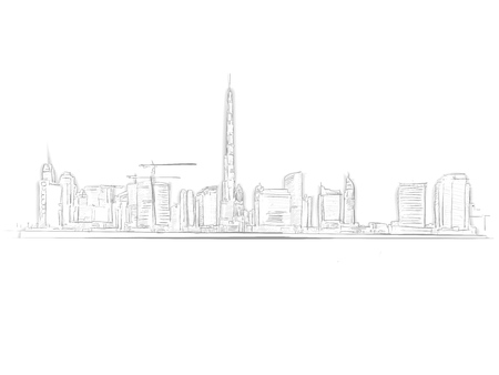 Dubai Skyline Landmark Sketch. Line Art drawing by hand. Travel design, architecture icon for greeting card, vector background.