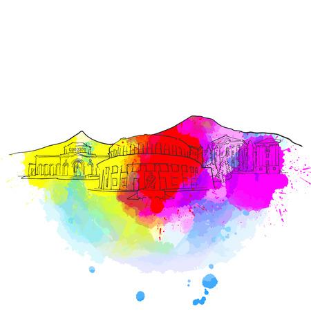 Yerevan Armenia Colorful Landmark Banner. Beautiful hand drawn vector sketch. Travel illustration for social media marketing and print advertising.