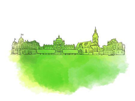 Zagreb Croatia Colorful Landmark Banner. Beautiful hand drawn vector sketch. Travel illustration for social media marketing and print advertising.