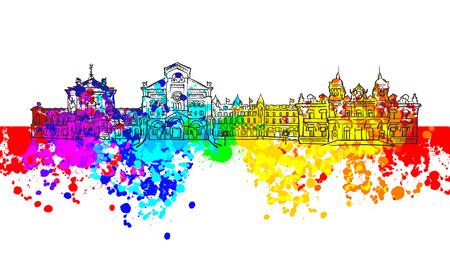 Monaco Colorful Landmark Banner. Beautiful hand drawn vector sketch. Travel illustration for social media marketing and print advertising.