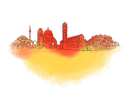 Pristina Colorful Landmark Banner. Beautiful hand drawn vector sketch. Travel illustration for social media marketing and print advertising.