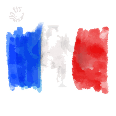 Flag of France painted Strokes. Beautiful hand drawn vector sketch. Colorful elements for social media and print decoration.