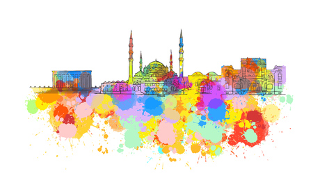 Ankara Colorful Landmark Banner. Beautiful hand drawn vector sketch. Travel illustration for social media marketing and print advertising.