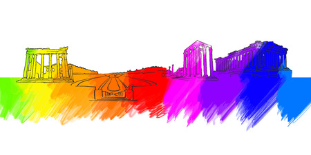 Athens Greece Colorful Landmark Banner. Beautiful hand drawn vector sketch. Travel illustration for social media marketing and print advertising.