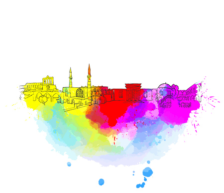 Nicosia Cyprus Colorful Landmark Banner. Beautiful hand drawn vector sketch. Travel illustration for social media marketing and print advertising. Vettoriali