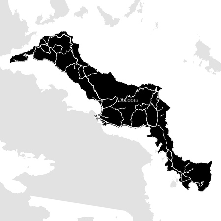 Euboea Island, Greece, Vector Map. Main White Highways on Black Background. Çizim