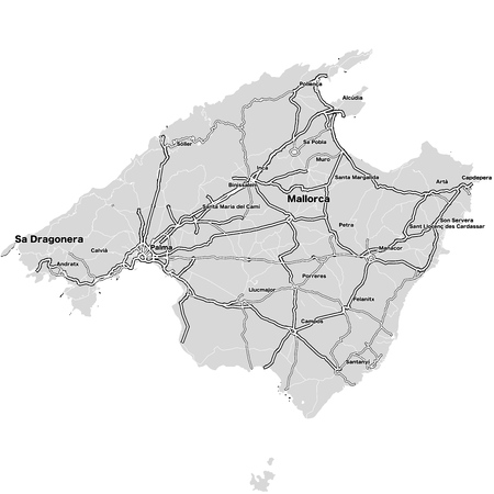 Mallorca Island Vector Map. Highways and City Streets on Grey Background.