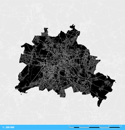 Berlin City Vector Map. Black and White Silhouette Version. Rich details for highways, roads and smaller streets.