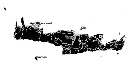 Crete Island Vector Map, black and white Silhouette Outline map for travel marketing and education. Illustration