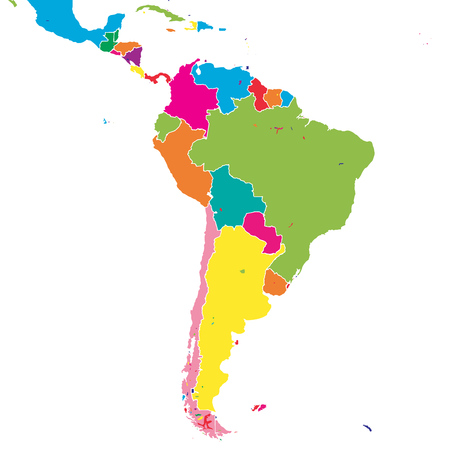 South America Colorful Vector Map. Political Version Usable For ...