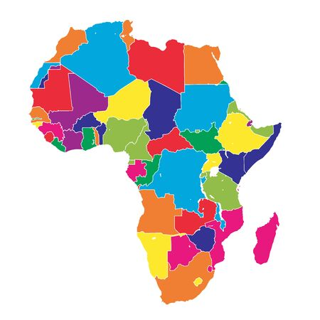 Africa colorful vector map. Political version usable for travel marketing, real estate and education.