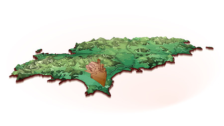 Island Map of Ibiza with drawing. Detailed vector illustration. Isolated concept for infographic and marketing.