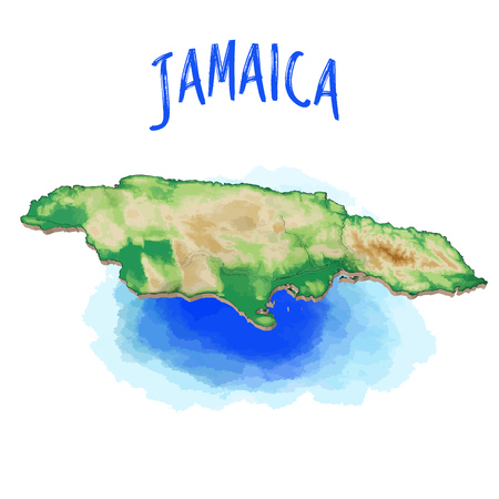 3D Map of Jamaica - Caribbean - Vector Illustration, Topographic Version. Use for Travel Marketing and Print Production.