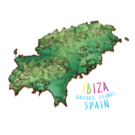 3D Island Map of Ibiza. Detailed vector illustration. Isolated concept for infographic and marketing.