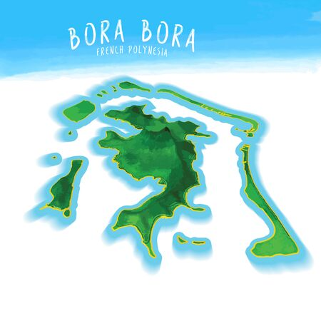 3D Island Map of Bora Bora Detailed vector illustration. Isolated concept for infographic and marketing. Illustration