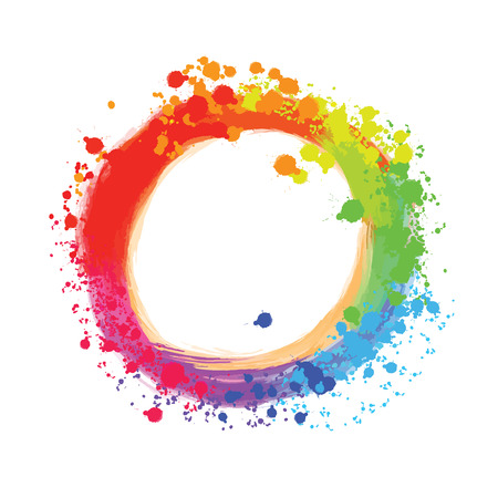 Bright background circle with colorful drops. Beautiful hand drawn backdrop. Usable for website, social media and print decoration.