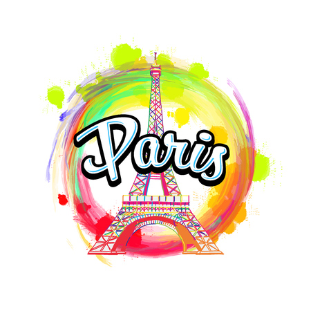 Paris Eiffel Tower Drawing with Headline. Hand drawn skyline illustration. Travel the world concept vector image for digital marketing and poster prints.