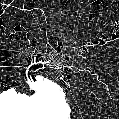 Area map of Melbourne, Australia. Dark background version for infographic and marketing projects. This map of Melbourne, Victoria, contains typical landmarks with streets, waterways and railways for additional information and easy access to color changes. Vectores