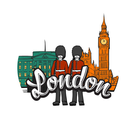 London Big Ben Drawing with Headline. Hand drawn skyline illustration. Travel the world concept vector image for digital marketing and poster prints.