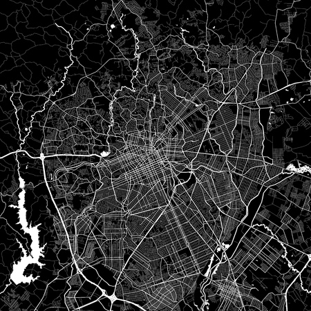 Area map of Curitiba, Brazil. Dark background version for infographic and marketing projects. This map of Curitiba, Paraná, contains typical landmarks with streets, waterways and railways for additional information and easy access to color changes. Ilustrace