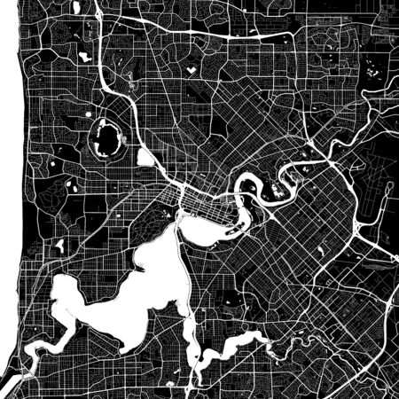 Area map of Perth, Australia. Dark background version for infographic and marketing projects. This map of Perth, Western Australia, contains typical landmarks with streets, waterways and railways for additional information and easy access to color changes. Ilustrace