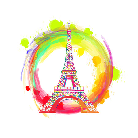 Paris Eiffel Tower Drawing Concept. Hand drawn skyline illustration. Travel the world concept vector image for digital marketing and poster prints. Vectores