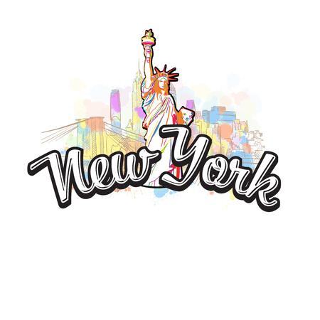 New York Liberty Statue Drawing with Headline, a hand drawn skyline illustration.